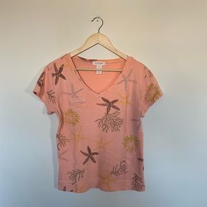 Fresh Produce Peach Pink Beach Starfish T Shirt